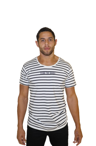 STRIPE TEE - WHITE/BLACK