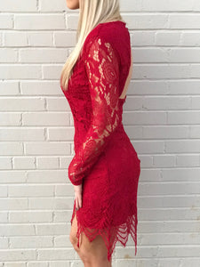 Long Sleeve Lace Red Dress