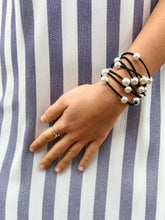 Pearl and Black Leather Necklace/Bracelet