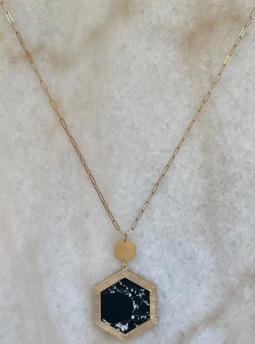 Black Marble Long Necklace