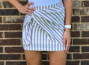 Maroon and White Striped Skirt