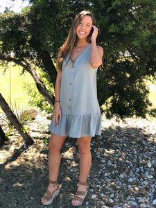 Dusty Blue Button Down Dress