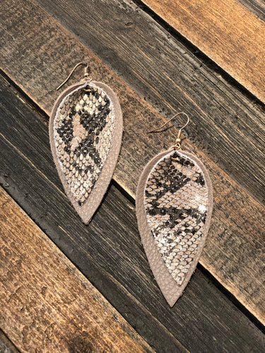 Leather Snakeskin Earrings