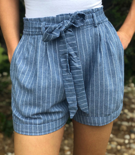 Denim Striped Shorts