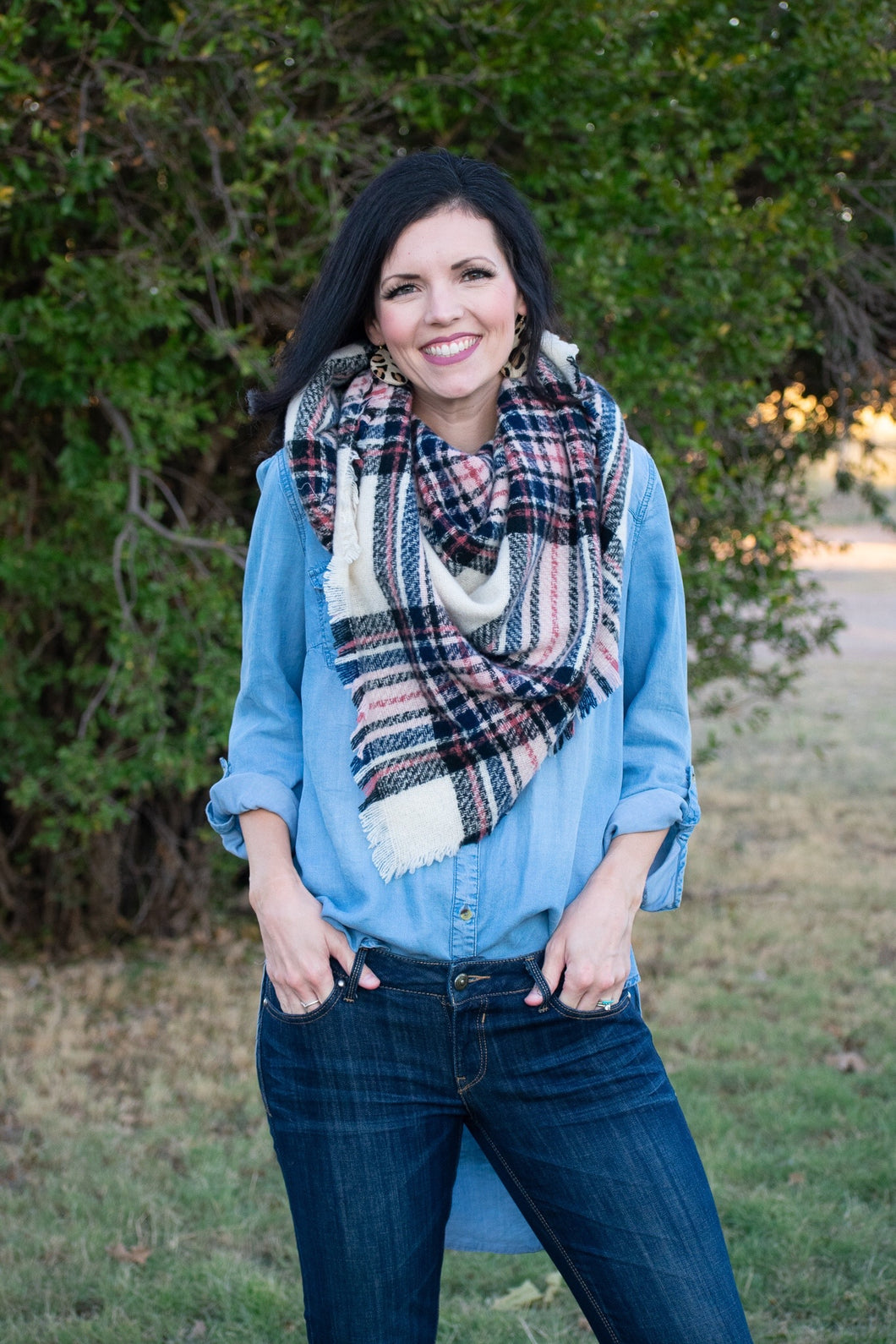 Ivory Plaid Scarf
