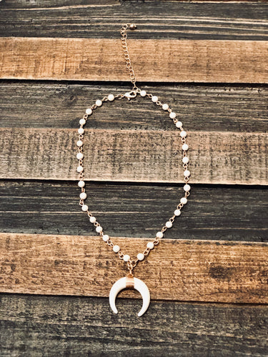 Ivory Bead Choker with Crescent