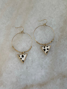 Gold Hoops with Triangle Drop