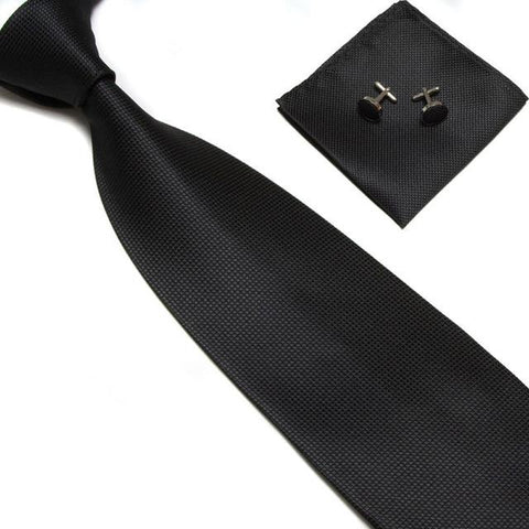 Men Classic Solid Plain Ties with Square Cufflinks and Handkerchief included - GeoDapper