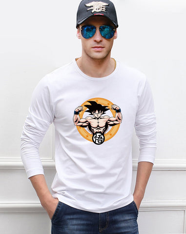 """Strong as Goku"" Cotton Long Sleeve Shirt - GeoDapper"