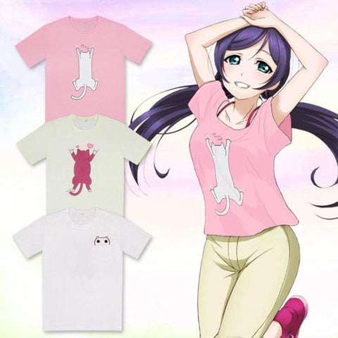 Nozomi Tojo Yazawa Nico Cute Cat Printed Short Sleeve T-shirt (Cosplay from Love Live!) - GeoDapper