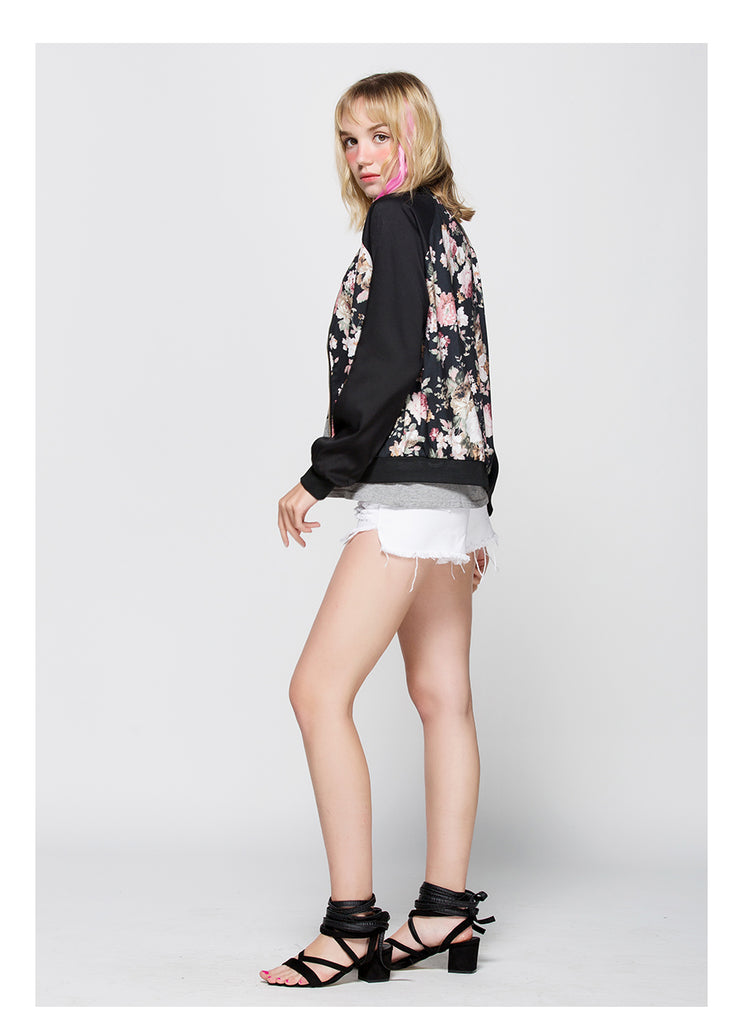 Floral Color Block Jacket