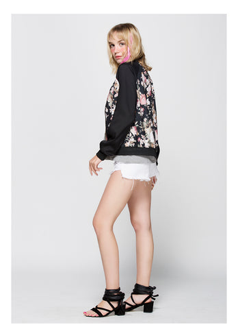 Image of Floral Color Block Jacket