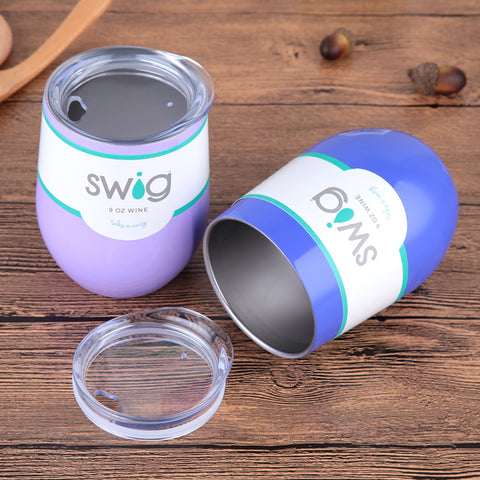 Image of 9oz Egg Shapped Swig Mug Stainless Steel Insulated Wine Tumbler