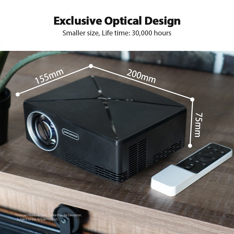 AUN MINI HD Projector 1280x720 Resolution, Android WIFI Projector, LED Portable HD Beamer for Home Cinema, C80 UP - Over 50% OFF Today