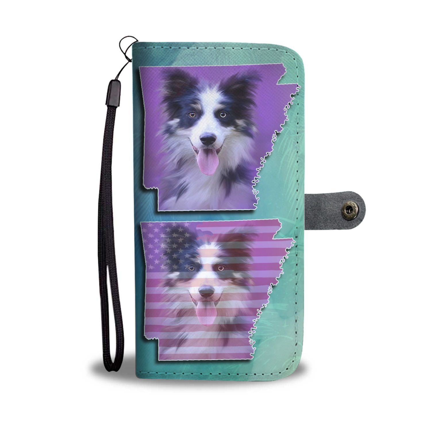 Border Collie Dog Art Print Wallet Case-Free Shipping-AR State - The Horse Barn
