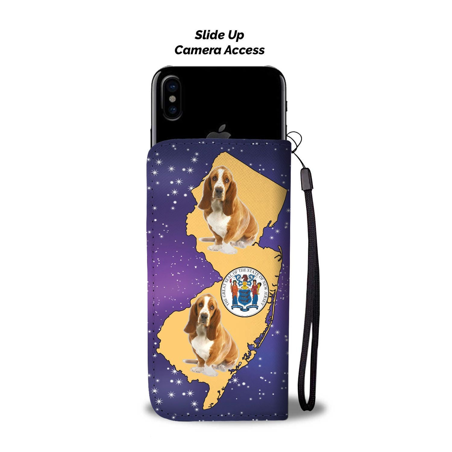 Cute Basset Hound Dog Print Wallet Case-Free Shipping-NJ State - The Horse Barn