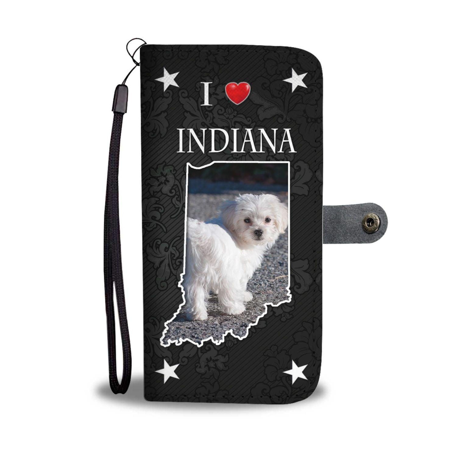 Cute Maltese Dog On Black Print Wallet Case-Free Shipping-IN State - The Horse Barn