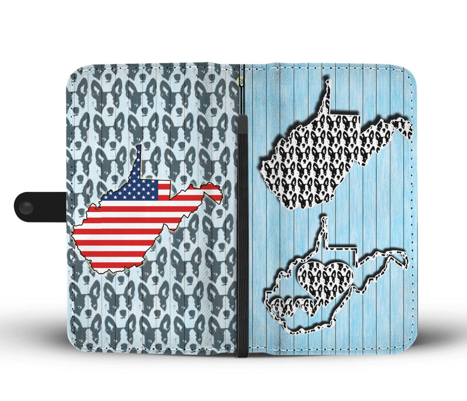 Cute Boston Terrier Dog Pattern Print Wallet Case-Free Shipping-WV State - The Horse Barn