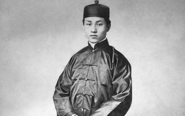 chinese clothing man wearing mandarin collar shirt