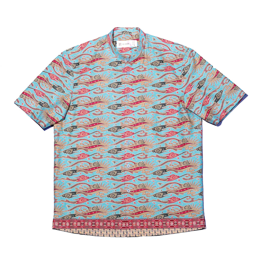 """Cyan Leaves"" Batik Shirt"