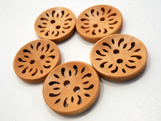 Wooden Buttons Set of 5: Adobe Damask ~ Open Filigree Style Butterscotch Colored Wooden Buttons 7/8
