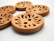 "Wooden Buttons Set of 5: Adobe Damask ~ Open Filigree Style Butterscotch Colored Wooden Buttons 7/8"" Diameter"