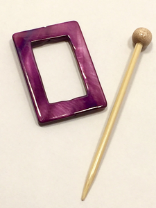 "Mother of Pearl Rectangular Shawl Pin ""Advert"""
