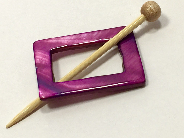 Mother of Pearl Rectangular Shawl Pin