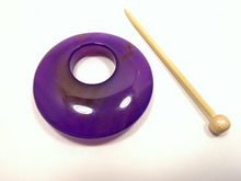 Natural Stone Agate Shawl Pin ~ Purple and Chocolate Striped Agate #11226