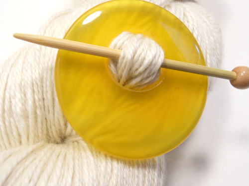 Natural Stone Shawl Pin ~ Yellow Agate #11231