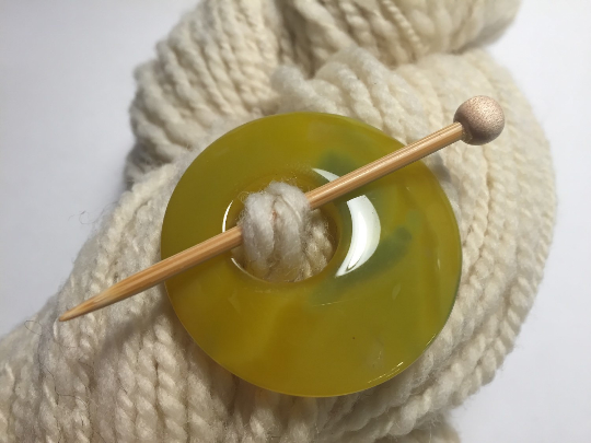 Natural Stone Agate Shawl Pin ~ Yellow and Green Agate #1276