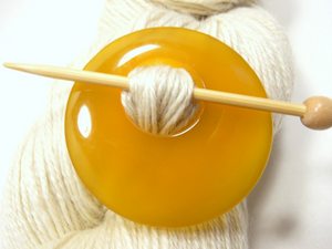 Natural Stone Agate Shawl Pin ~ Yellow Agate #2671