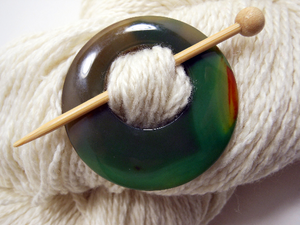 Natural Stone Shawl Pin ~ Green, Black, and Red Striped Agate #2680