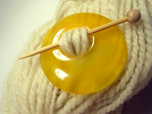 Natural Stone Agate Shawl Pin ~ Yellow Agate #2994