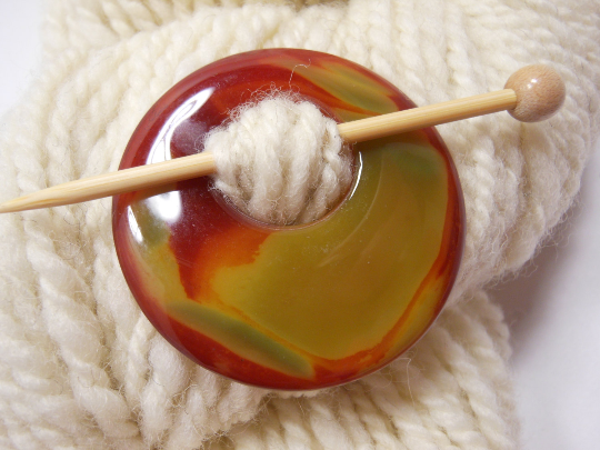 Natural Stone Agate Shawl Pin ~ Red and Green Striped Agate #3787