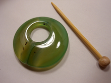 Natural Stone Agate Shawl Pin ~ Green Striped Agate #3795