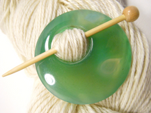 Natural Stone Agate Shawl Pin ~ Soft Green Agate #4031