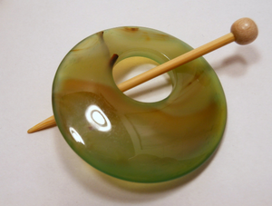 Natural Stone Agate Shawl Pin ~ Green and Brown Striped Agate #4033