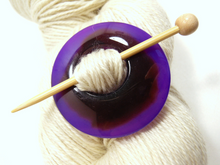 Natural Stone Agate Shawl Pin ~ Purple and Chocolate Agate #4041