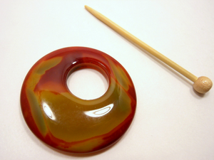 Natural Stone Agate Shawl Pin ~ Green and Red Striped Agate #4622