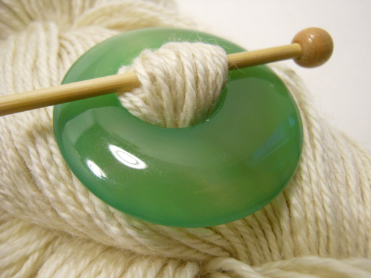 Natural Stone Agate Shawl Pin ~ Soft Green Agate #6022