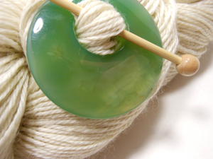 Natural Stone Agate Shawl Pin ~ Green Dragon Agate #9402