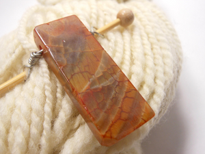 Handmade Natural Stone Shawl Pin ~ Wire Wrapped Stone ~ Agate Column F