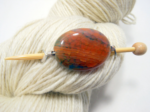 Natural Stone Shawl Pin ~ Alki Sunset ~ Wire Wrapped Orange and Blue Striped Agate with Silver Wire