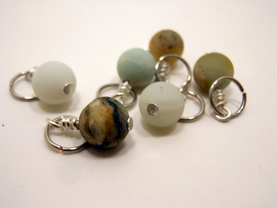 Handmade Natural Stone Stitch Markers ~ Amazonite ~ Set of 5