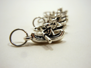 Handmade Silver Metal Stitch Markers ~ American Lake ~ Set of 6 Canoe Stitch Markers