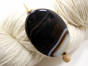 Handmade Natural Stone Shawl Pin ~ Americano Agate ~ Wire Wrapped White and Brown Striped Agate with Antique Bronze Wire