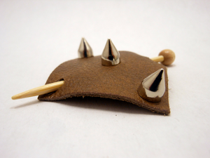 Studded Leather Shawl Pin ~ Austin Brownstone