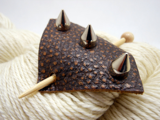 Studded Leather Shawl Pin ~ Bastille