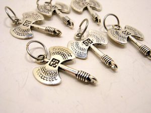 Handmade Silver Metal Stitch Markers ~ Battle Axe ~ Set of 6